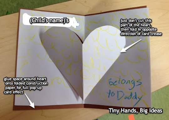 "Detailed ""my heart belongs to daddy"" pop-up card instructions, from ""tiny hands, big ideas"""